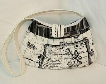 World shoulder bag - Handmade bag - Black white shoulder bag - Small shoulder bag - Hobo style bag - Map print bag - Hobo bag - Purse