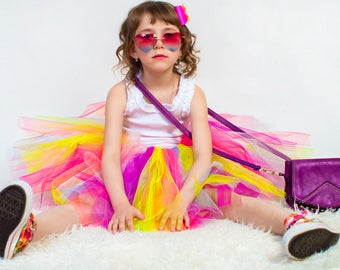 Rainbow tutu for baby, multicolor tutu for baby, rainbow tutu for girls, 1st birthday tutu, first birthday multicolor tutu, Multicolor tutu
