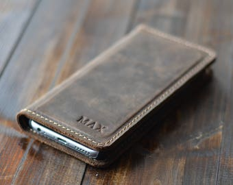 Personalized Leather iPhone Wallet, FREE USA SHIPPING, Leather iPhone Case, Magnetic Case, Distressed Leather Phone Wallet, Chestnut Brown