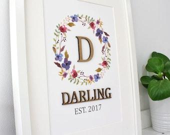 Surname Sign, Laser Cut Wood, Monogram Wall Art, Family Name Sign, Custom Wedding Gift, Wedding Date Sign, Custom Surname Sign, 8x10, A4