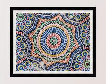Colourful Moroccan Mosaic, Marrakech, Photography Print, Wall Art, Home Decor