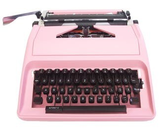 Pink Typewriter - Fully Working - Olympia Carina 1 - Custom Painted - Fully Serviced - Vintage Typewriter
