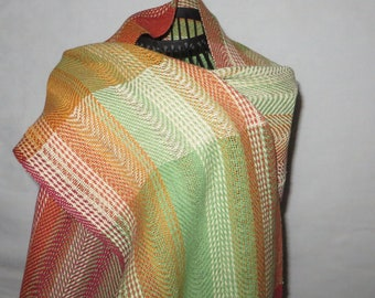 handwoven scarf, made of cotton and linen (cottolin)