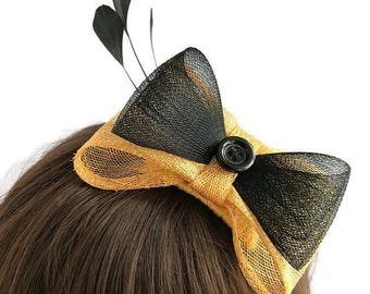 Gold & Black Bow Fascinator, Black Gold Hair Bow, Prom Wedding Races, Black Gold Bow Headpiece, Handmade Sinamay Black Feather Hair Comb