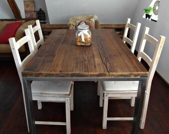 Hand Crafted 6 8 10 seater farmhouse style Reclaimed Wood Steel Dining Table Handmade Industrial Kitchen Table old wood silver brown rustic