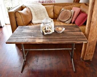 4 seater Reclaimed Wood & Steel Dining Table Handmade Industrial coffee table regulated high loft old wood table top steel legs