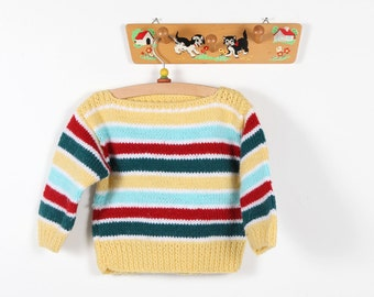 Vintage clothing-Striped hand-knitted sweater