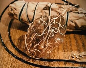 Wire Wrapped Smokey Quartz Necklace