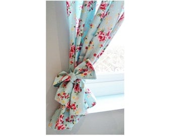 Rose Floral Curtains Bespoke Kitchen Shabby Chic Handmade Kitsch Retro Vintage Made To Measure Curtains