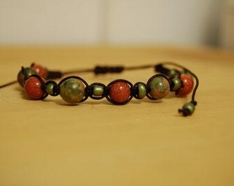 Goldstone and Unakite Macrame Shamballa bracelet