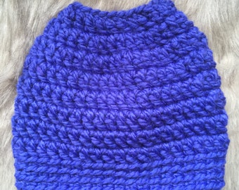 Top Knot Hat - Electric Purple