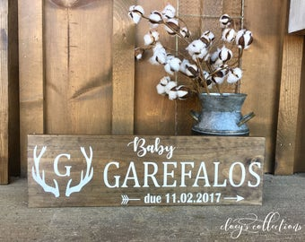 Baby announcement / nursery decor / rustic wood sign / monogram / first last name / due date / antlers