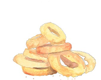 Fried onion rings hand drawn watercolor illustration