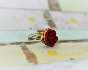 Rose Ring/Wire Wrapped Ring/Wire Wrapped Jewelry/Red Rose Ring/Gold Ring/Gold Wire Wrapped Jewelry/Beaded Jewelry/Bohemian Jewelry/Summer