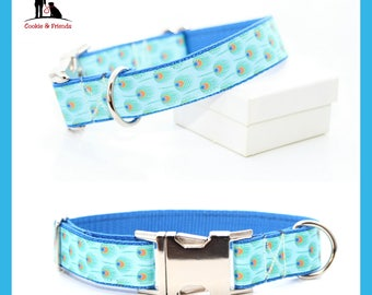 "Dog collar ""Peacock"" on blue belt metal buckle, plastic buckle, train stop collar"