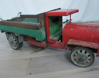 Large Wooden and Metal Vintage Toy Truck Lorry