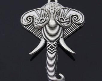 2pcs Antique Silver Elephant Charms Pendant 50x82mm