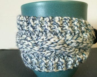 Cabled Knitted Mug Wrap/Cozy, Blue and White