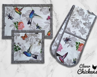 Gift for her - Hummingbirds - Oven Glove Mitt Hot Pad - Kitchen Set - Flowers - White Grey Mother's Day Gift Housewarming