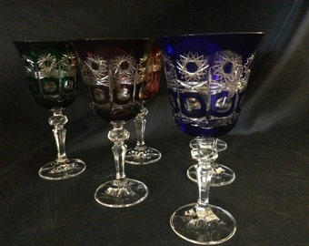 "Czech Bohemia crystal glass - Liquer glasses multicolored 15cm/6""III"