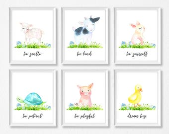 Farm Animal Nursery Watercolor Art Print Set, Cow Pig Lamb Duck Turtle Bunny, Farm Animal Prints, Farm Animal Nursery, Farm Prints