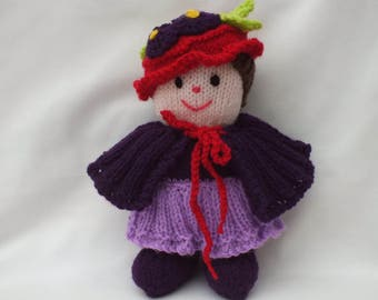 Purple Lady Hand Knitted Doll, Stuffed Soft Toys