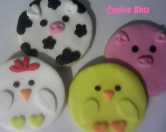 12 Farm Animals Sugar Cookies Party Favors Kids Birthday Favors Decorated Cookies Baked Goods Cow Cookies Chicken Cookies Gifts Duck Cookies