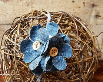 Denim Flower Headband