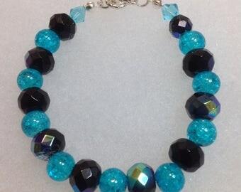 Black and Aqua Beaded Bracelet