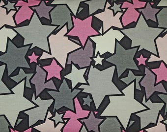 Stretchjersey comic stars pink grey to anthracite