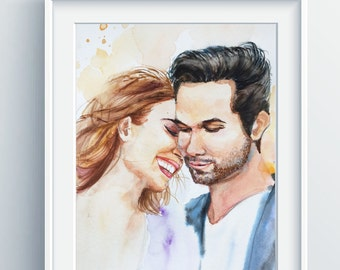 Custom Portrait Painting, original handmade watercolor painting, wedding gift,wedding engagement gift portrait