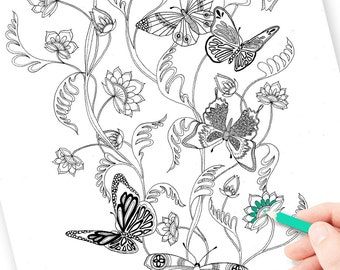 Grown up coloring page for anxiety relief, adult coloring pdf, digital download