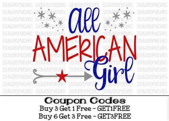 4th Of July Svg All American Girl Svg Patriotic Svg Png Files