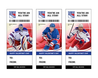 new york rangers hockey valentines day card ticket printable instant download