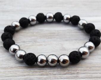 Hematite Bracelet Mens Bracelet Men Black Lava Bracelet Gifts For Him Anniversary Gifts Husbands Gifts Boyfriends Gifts Cool Men Bracelet