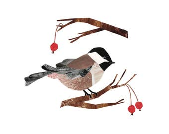 Black-capped Chickadee - Giclee Print of an Original Collage