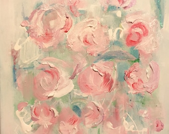 Pink abstract  Rose Giclee Painting, wall art, wall decor, modern