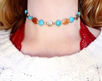 Bohemian Beaded Choker Necklace