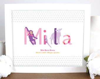 Personalized Baby Name Animal Wall Art, Nursery Print, Kids Art, Baby Gift, Pink and Purple Baby Art, Baby Shower Gift, Baby Welcome Gift,