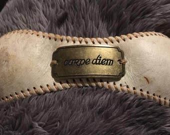 Carpe Diem baseball cuff bracelet
