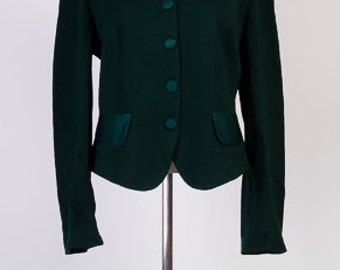 Vintage jacket,Womens jacket,80s,Knitwear jacket,Dark green jacket,Wool jacket,Size 16