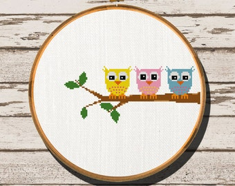 Owl Cross Stitch Pattern -Owl Branch - Instant Download - easy cross stitch - patterns - nursery cross stitch - cute cross stitch - digital