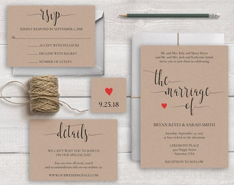 """Wedding Invitation Set Template, """"The Marriage of"""" Wedding Invitations, Modern Calligraphy Wedding Invites, Rustic Wedding Invitation Suite"""