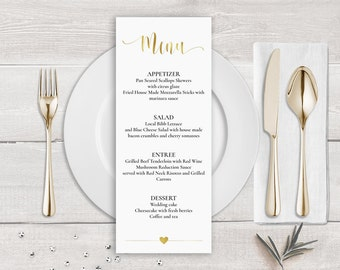 Gold Menu Template, Faux Gold Wedding Menu Card Template, Gold Calligraphy Wedding Menu Gold, Wedding Menu Printable, Faux Gold Foil Menu