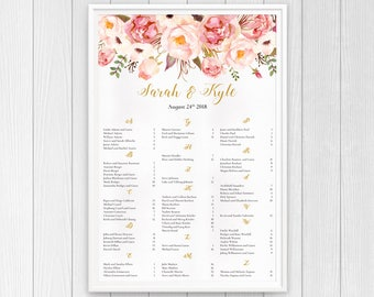 Floral Wedding Seating Chart Sign Printable, Boho Wedding Seating Plan, Whimsical Seating Chart, Alphabetical Seating Chart Alphabetical