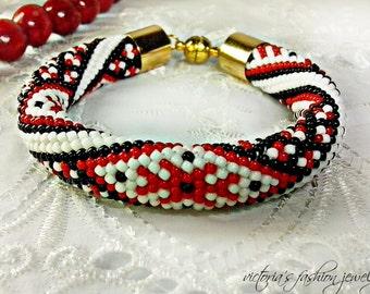 Ukrainian vyshyvanka - Classic Bead Crochet Bracelet Beaded Minimalist Bracelet Beadwork Bracelet Multiсolored Colorful Beadwork Jewelry