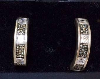 925 Silver & Marcasite hoop earrings