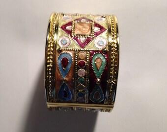 Enameled Hinged Cuff Bracelet