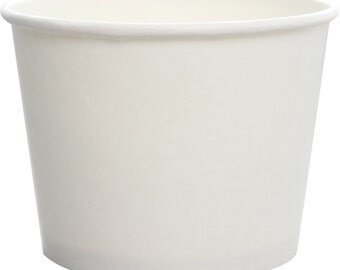 White Paper Food Container with Plastic Flat Lid (Qty 25)