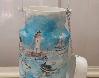French mini milk urn. Lovely hand painted with coastal theme.